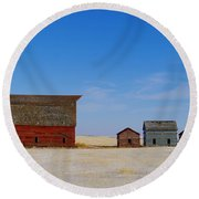 A Big Barn And Three Small Ones Round Beach Towel