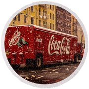 A Big Red Truck In The Barrio Round Beach Towel