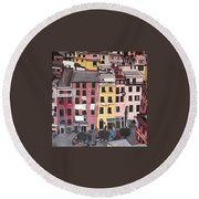 A Bird's Eye View Of Cinque Terre Round Beach Towel