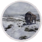 A Bison Latifrons In A Winter Landscape Round Beach Towel