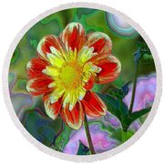 A Blooming Smile  Round Beach Towel