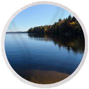 A Blue Autumn Afternoon - Algonquin Lake Tranquility Round Beach Towel