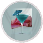 A Blue Hawaiian Cocktail Round Beach Towel