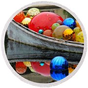 A Boat Full Of Color Round Beach Towel
