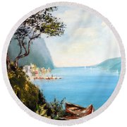 A Boat On The Beach Round Beach Towel by Lee Piper