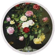 A Bouquet Of Roses In A Glass Vase By Wild Flowers On A Marble Table Round Beach Towel