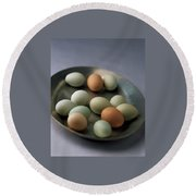 A Bowl Of Eggs Round Beach Towel