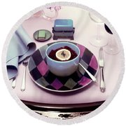 A Bowl Of Food On A Pink Table Round Beach Towel