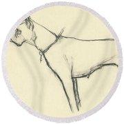 A Boxer Dog Round Beach Towel