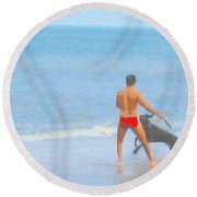 A Boy And His Dog 2 Round Beach Towel