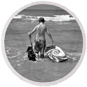 A Boy And His Dog Go Surfing Round Beach Towel