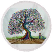 A Boy His Dog And Rainbow Tree Dreams Round Beach Towel