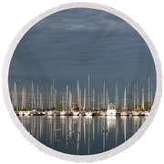 A Break In The Clouds - White Yachts Gray Sky Round Beach Towel