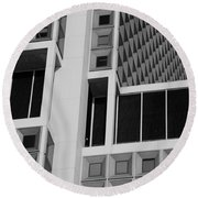 A Break In The Glass In Black And White Round Beach Towel