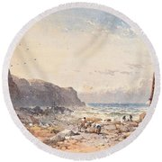 A Breezy Day With Fisherfolk On The Foreshore Round Beach Towel