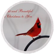 A Bright And Beautiful Merry Christmas To You Round Beach Towel
