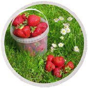 A Bucket Of Strawberries Round Beach Towel