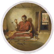 A Buddhist Monk, From India Ancient Round Beach Towel