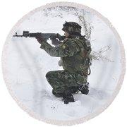 A Bulgarian Soldier Aims Down The Sight Round Beach Towel