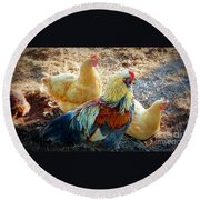 A Bunch Of Chickens Round Beach Towel