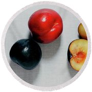 A Bunch Of Plums Round Beach Towel