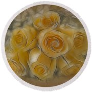 A Bunch Of Yellow Roses Round Beach Towel