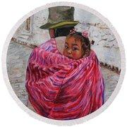 A Bundle Buggy Swaddle - Peru Impression IIi Round Beach Towel by Xueling Zou