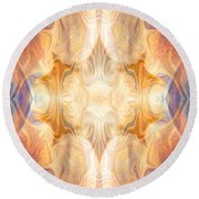A Burst Of Light Abstract Living Artwork By Omaste Witkowski Round Beach Towel