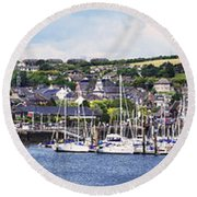 A Busy Harbour And Waterfrontkinsale Round Beach Towel
