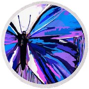 A Butterfly So Blue Round Beach Towel