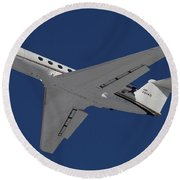 A C-20 Gulfstream Jet In Flight Round Beach Towel