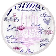 A Calligraphy Illustration Celebrating Sixty Round Beach Towel