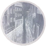 A Canal In Venice Round Beach Towel