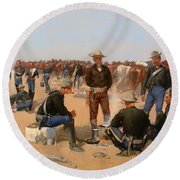 A Cavalryman's Breakfast Round Beach Towel