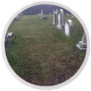 A Cemetery In New Salem Round Beach Towel