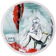 A Chair For My Heart Please - Thank You. Round Beach Towel