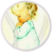 A Childs Prayer Round Beach Towel by Charlotte Byj