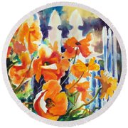 A Choir Of Poppies Round Beach Towel by Kathy Braud