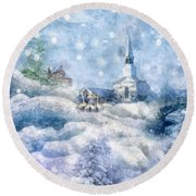 A Christmas To Remember Round Beach Towel