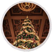 A Christmas Tree At Union Station Round Beach Towel