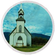 A Church In British Columbia   Round Beach Towel
