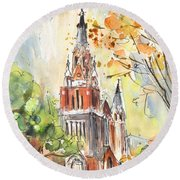 A Church In Our Street In Budapest Round Beach Towel