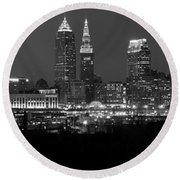 A Cleveland Black And White Night Round Beach Towel