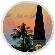A Clock Tower At Sunset On Maui, Hawaii Round Beach Towel