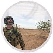 A Coalition Force Member Looks For Air Round Beach Towel