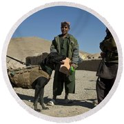 A Coalition Forces Military Working Dog Round Beach Towel