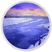 A Cold New Years Eve Round Beach Towel