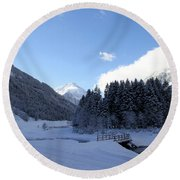 A Cold Winter Day Round Beach Towel