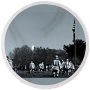 A Combat Patrol Heads For The Woods Round Beach Towel