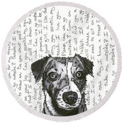 A Conversation With A Jack Russell Terrier Round Beach Towel
